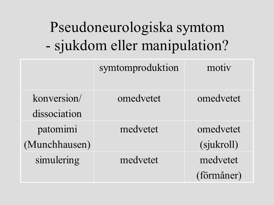 Pseudoneurologiska symtom - sjukdom eller manipulation? symtomproduktionmotiv konversion/ dissociation omedvetet patomimi (Munchhausen) medvetetomedve