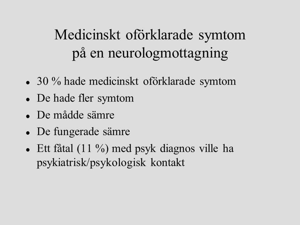 l 30 % hade medicinskt oförklarade symtom l De hade fler symtom l De mådde sämre l De fungerade sämre l Ett fåtal (11 %) med psyk diagnos ville ha psykiatrisk/psykologisk kontakt Medicinskt oförklarade symtom på en neurologmottagning