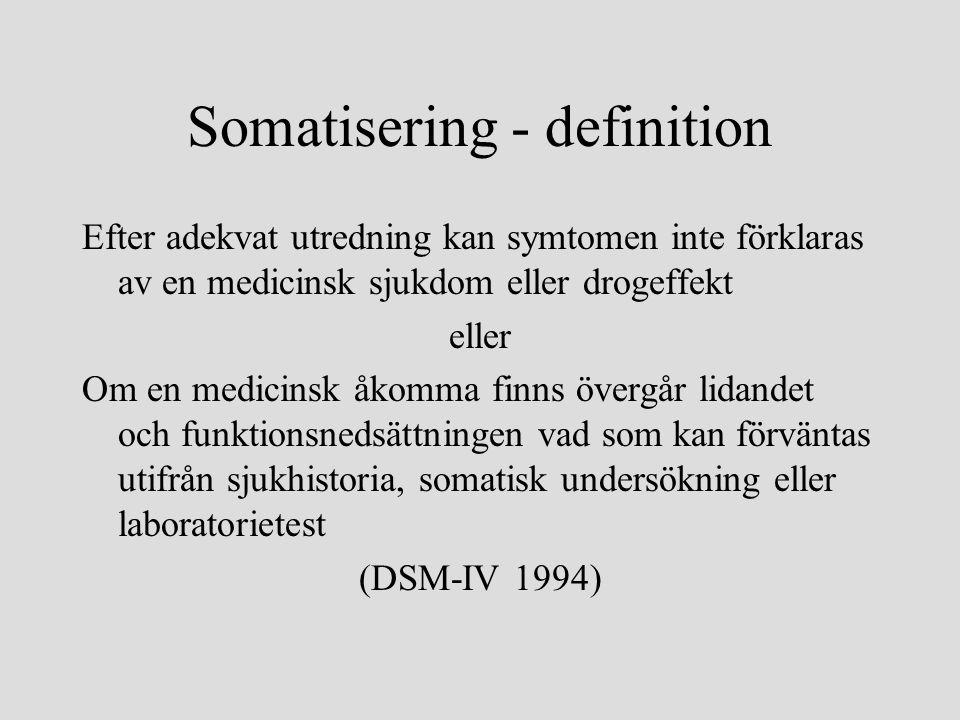 Somatisering - definition Efter adekvat utredning kan symtomen inte förklaras av en medicinsk sjukdom eller drogeffekt eller Om en medicinsk åkomma finns övergår lidandet och funktionsnedsättningen vad som kan förväntas utifrån sjukhistoria, somatisk undersökning eller laboratorietest (DSM-IV 1994)