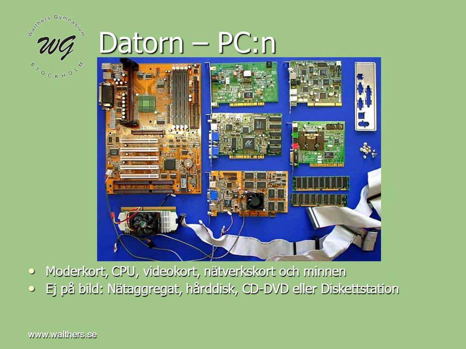 www.walthers.se Datorn – PC:n • Moderkort, CPU, videokort, nätverkskort och minnen • Ej på bild: Nätaggregat, hårddisk, CD-DVD eller Diskettstation