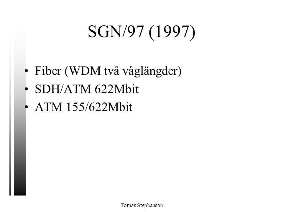 Tomas Stephanson SGN/97 (1997) •Fiber (WDM två våglängder) •SDH/ATM 622Mbit •ATM 155/622Mbit