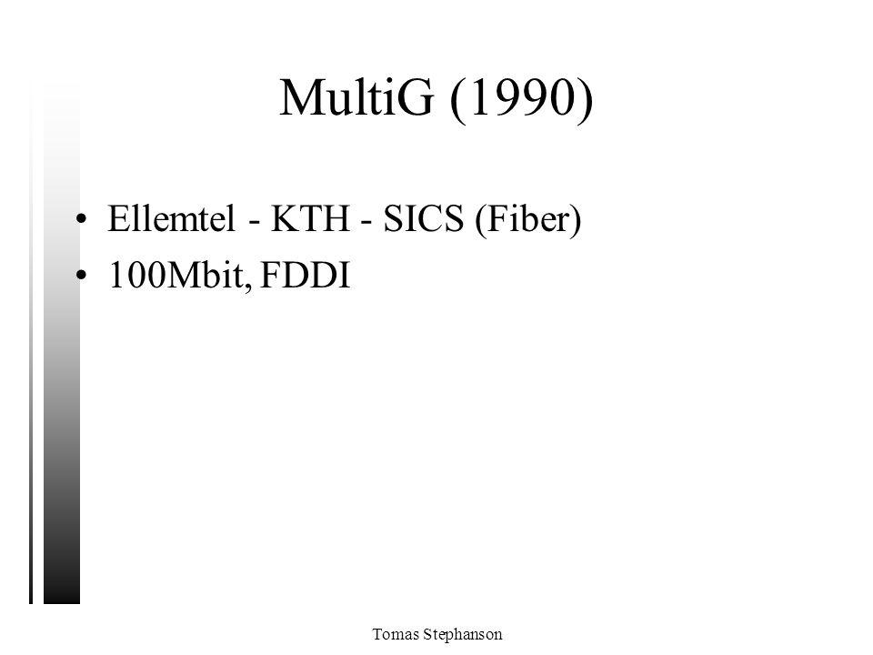 Tomas Stephanson MultiG (1990) •Ellemtel - KTH - SICS (Fiber) •100Mbit, FDDI