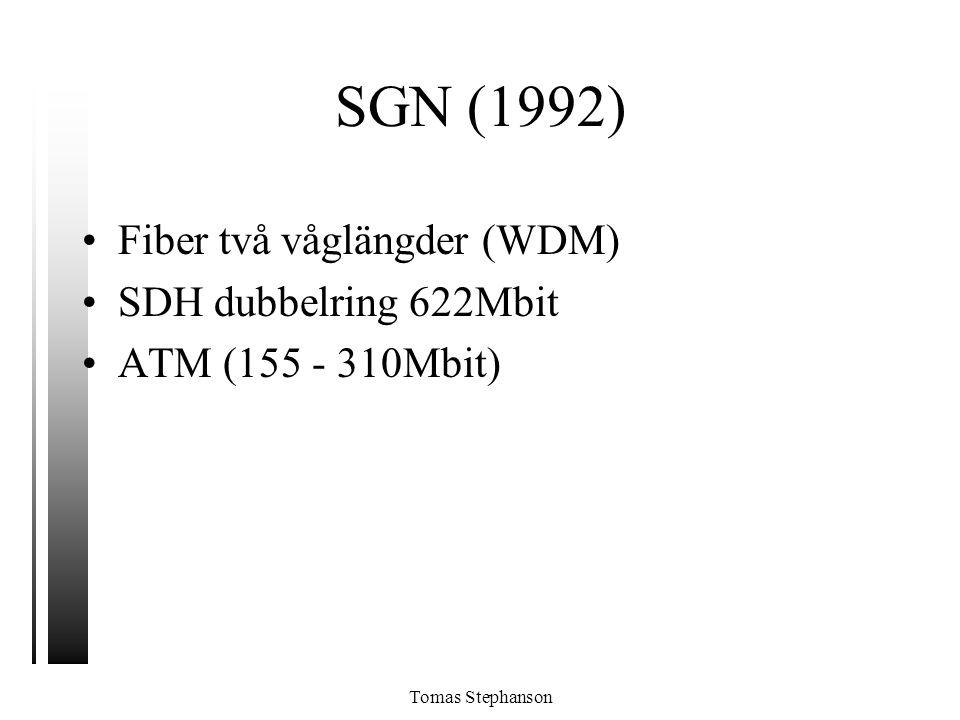 Tomas Stephanson SGN (1992) •Fiber två våglängder (WDM) •SDH dubbelring 622Mbit •ATM (155 - 310Mbit)