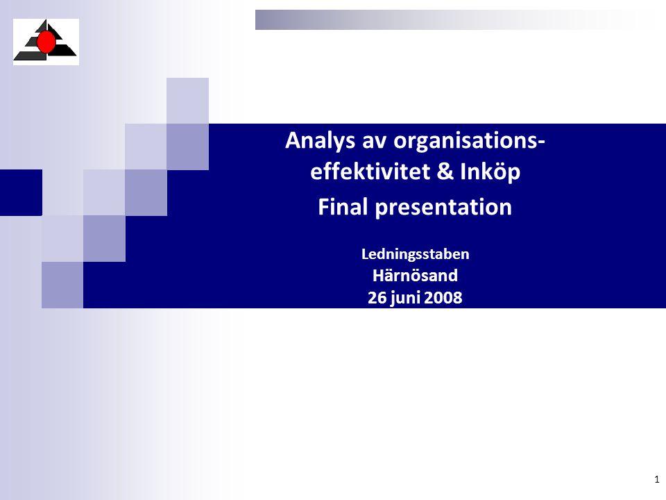 Analys av organisations- effektivitet & Inköp Final presentation Ledningsstaben Härnösand 26 juni 2008 1