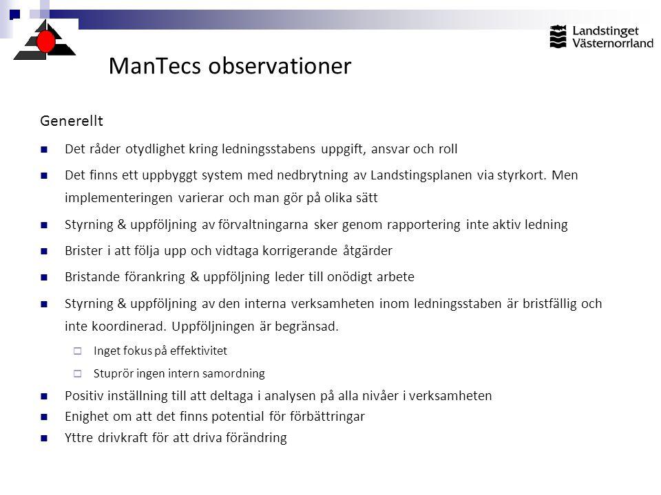 ManTecs observationer Generellt  Det råder otydlighet kring ledningsstabens uppgift, ansvar och roll  Det finns ett uppbyggt system med nedbrytning