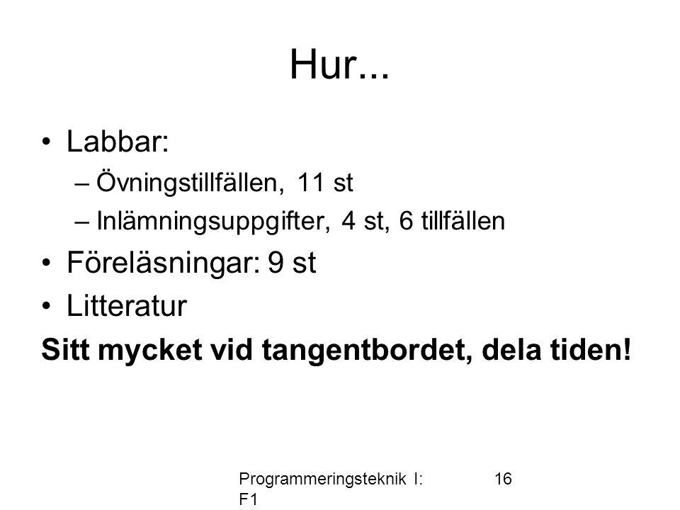 Programmeringsteknik I: F1 16 Hur... •Labbar: –Övningstillfällen, 11 st –Inlämningsuppgifter, 4 st, 6 tillfällen •Föreläsningar: 9 st •Litteratur Sitt