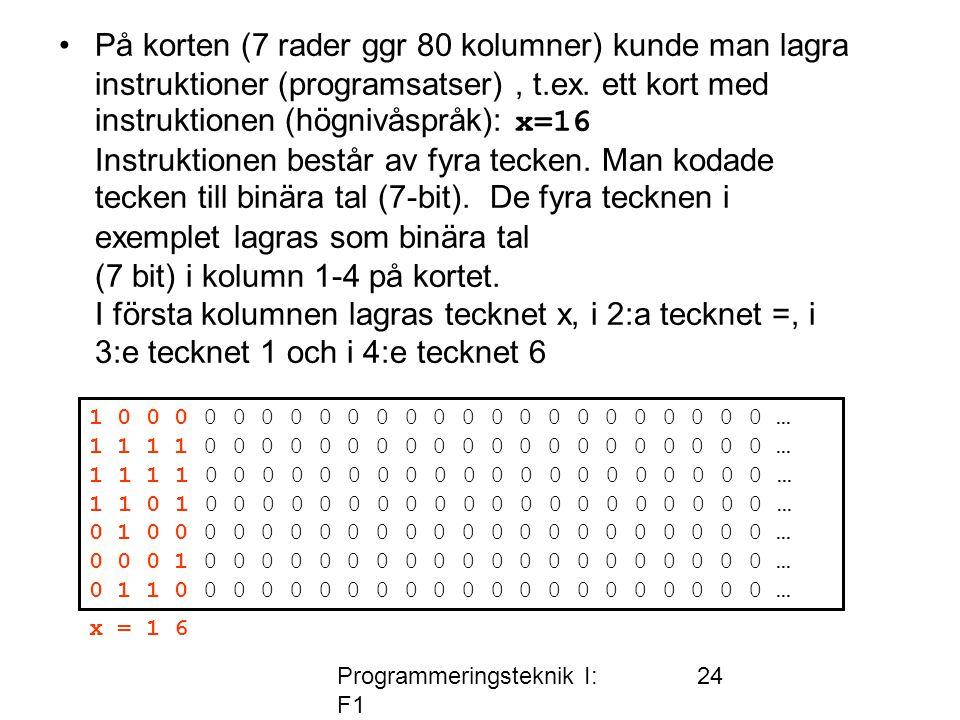 Programmeringsteknik I: F1 24 •På korten (7 rader ggr 80 kolumner) kunde man lagra instruktioner (programsatser), t.ex. ett kort med instruktionen (hö