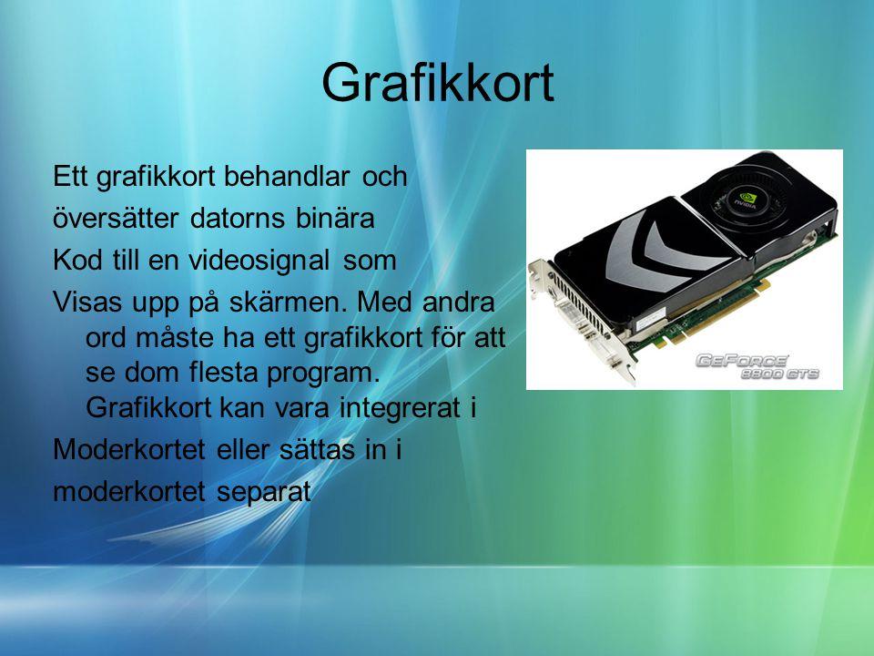 Grafikkort Ett grafikkort behandlar och översätter datorns binära Kod till en videosignal som Visas upp på skärmen.