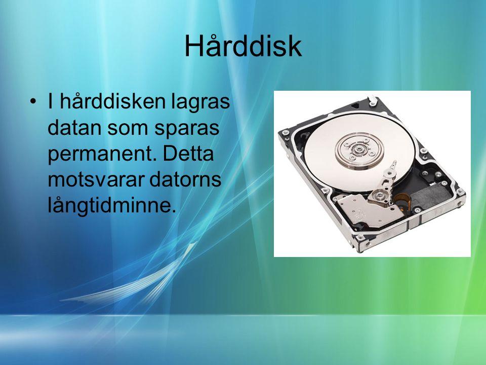 Hårddisk •I hårddisken lagras datan som sparas permanent. Detta motsvarar datorns långtidminne.