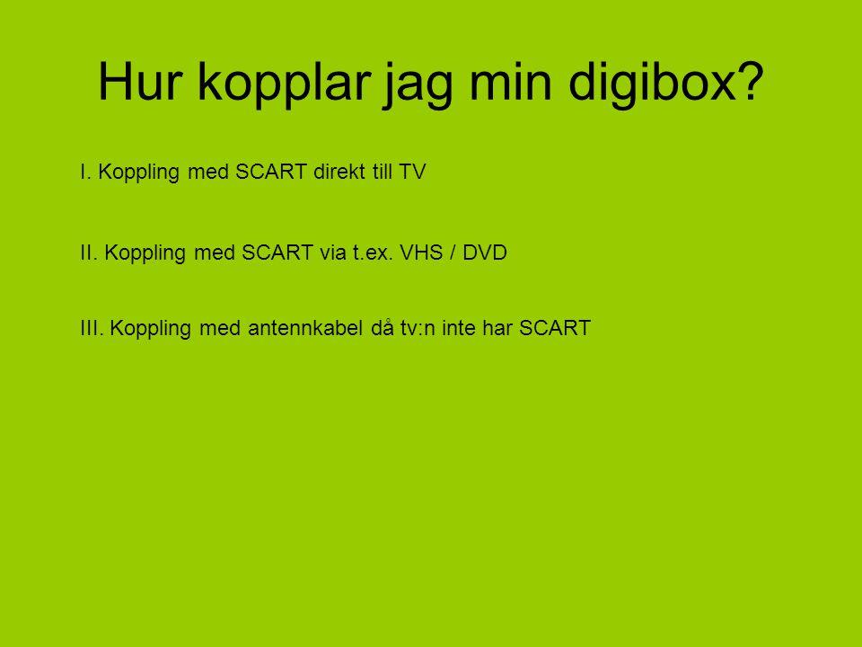 Hur kopplar jag min digibox. I. Koppling med SCART direkt till TV II.