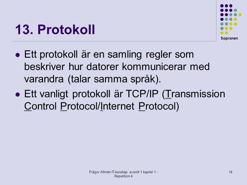 Sopranen Frågor Allmän IT-kunskap avsnitt 1 kapitel 1 - Repetition 4 14 13. Protokoll  Ett protokoll är en samling regler som beskriver hur datorer k
