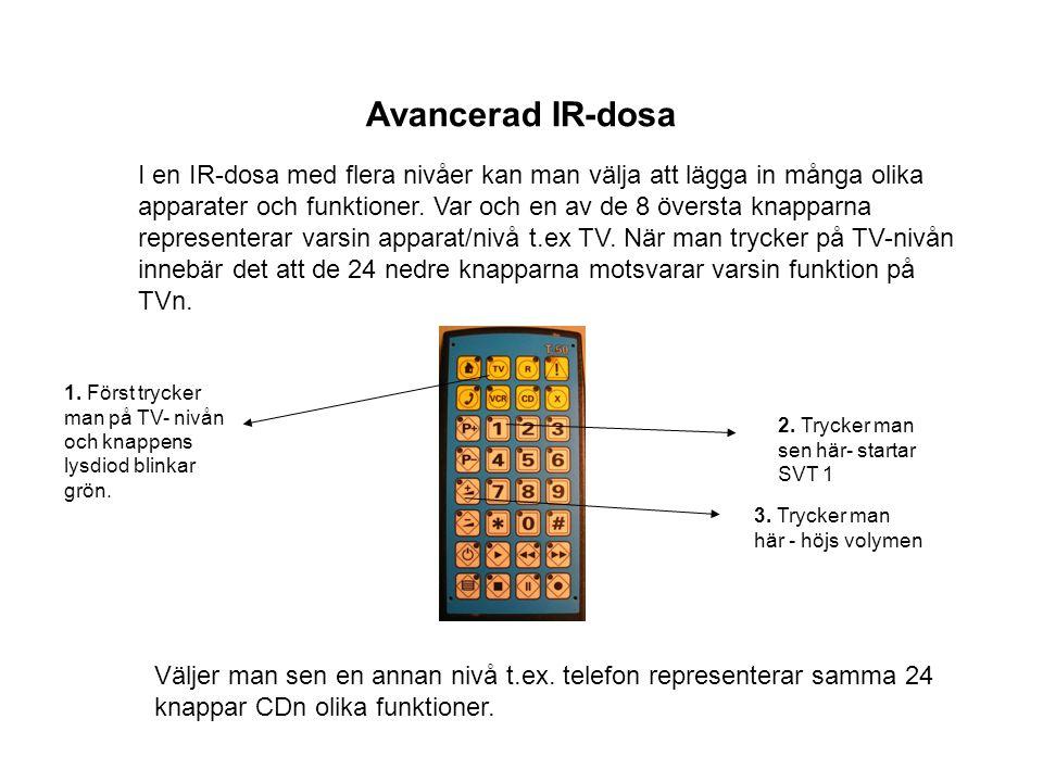 I en IR-dosa med flera nivåer kan man välja att lägga in många olika apparater och funktioner. Var och en av de 8 översta knapparna representerar vars