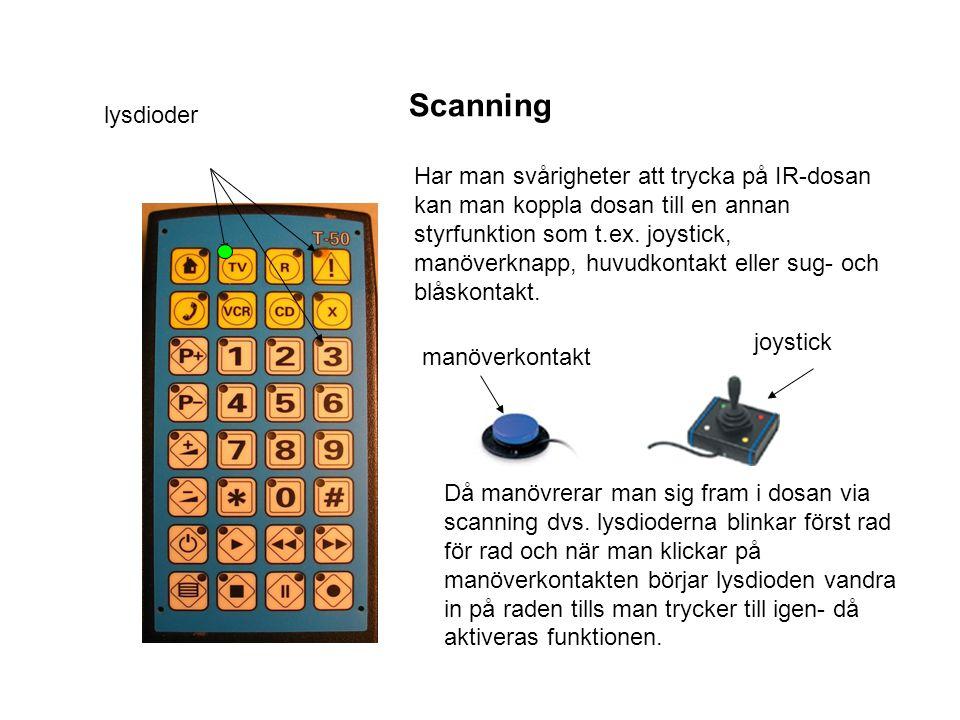 Scanning lysdioder Har man svårigheter att trycka på IR-dosan kan man koppla dosan till en annan styrfunktion som t.ex. joystick, manöverknapp, huvudk