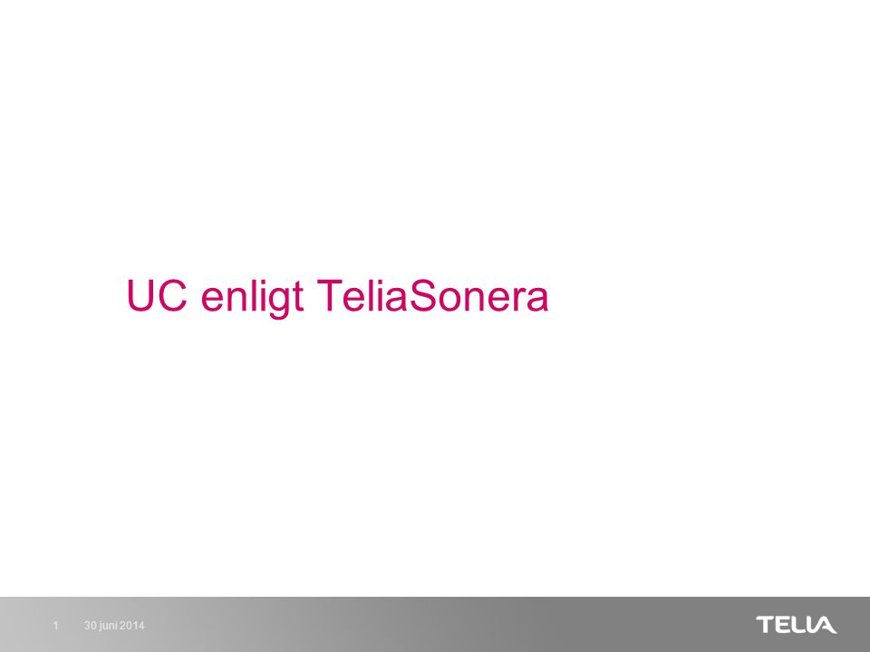 30 juni 20142 Tony K Andersson Business Management TeliaSonera Business Services