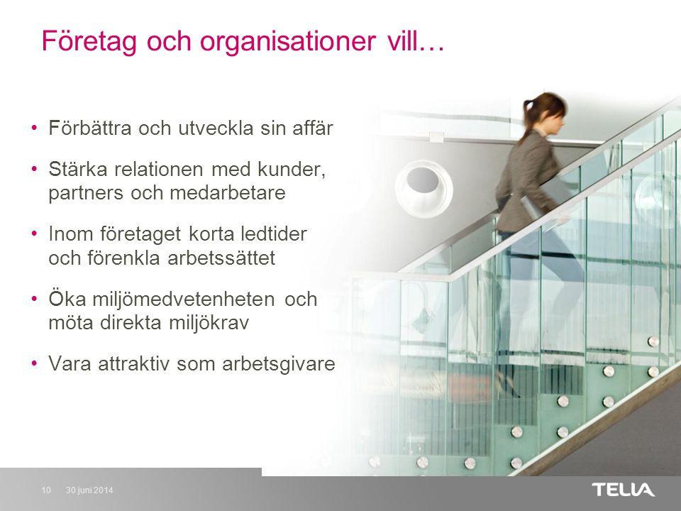 30 juni 201410 Företag och organisationer vill… •Förbättra och utveckla sin affär •Stärka relationen med kunder, partners och medarbetare •Inom företaget korta ledtider och förenkla arbetssättet •Öka miljömedvetenheten och möta direkta miljökrav •Vara attraktiv som arbetsgivare