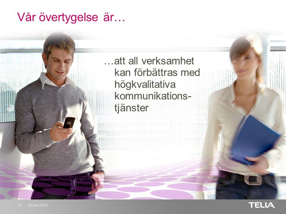 30 juni 201411 Vår övertygelse är… …att all verksamhet kan förbättras med högkvalitativa kommunikations- tjänster