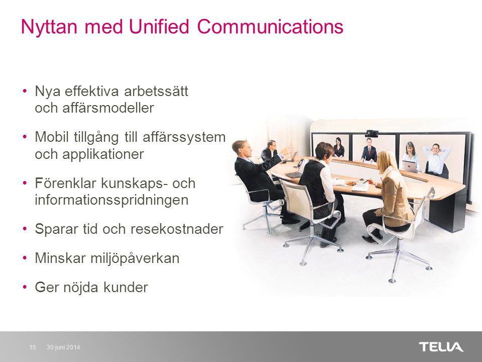 30 juni 201415 Nyttan med Unified Communications •Nya effektiva arbetssätt och affärsmodeller •Mobil tillgång till affärssystem och applikationer •Förenklar kunskaps- och informationsspridningen •Sparar tid och resekostnader •Minskar miljöpåverkan •Ger nöjda kunder