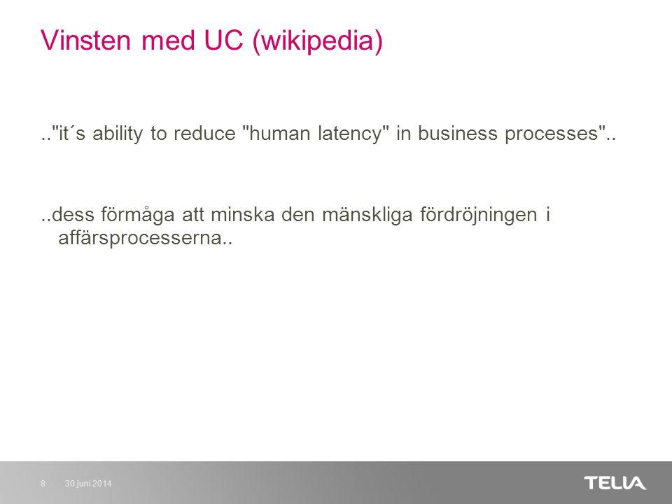 30 juni 20148 Vinsten med UC (wikipedia).. it´s ability to reduce human latency in business processes ....dess förmåga att minska den mänskliga fördröjningen i affärsprocesserna..