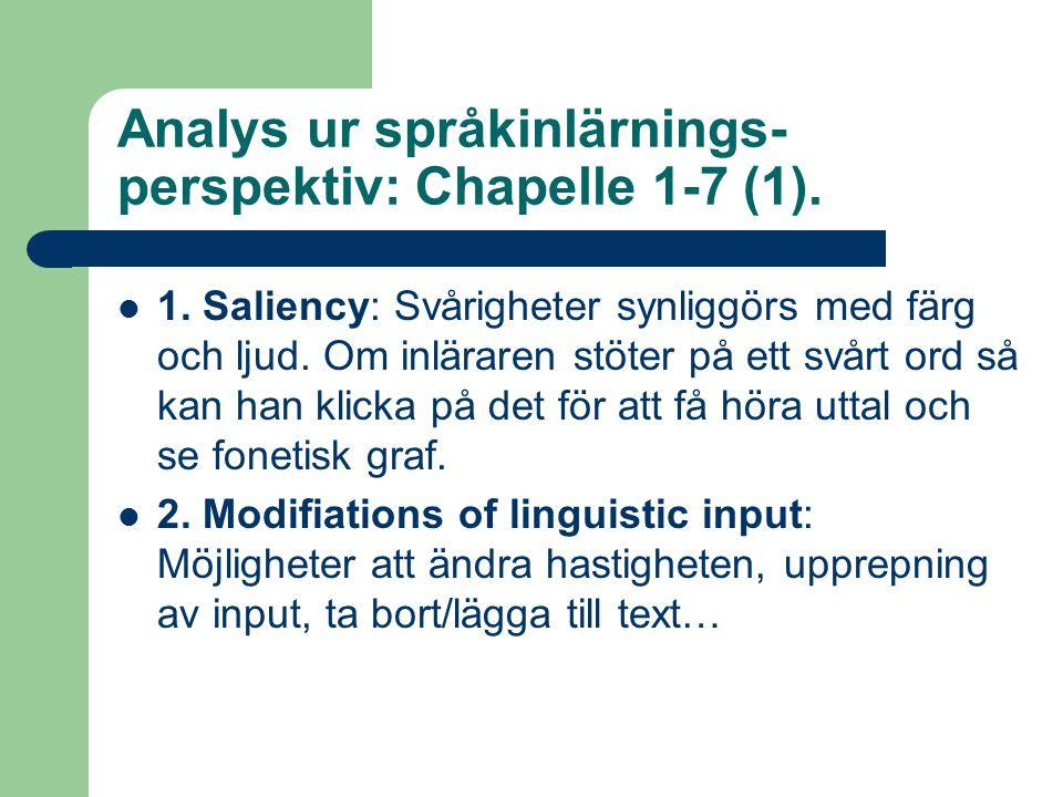 Analys ur språkinlärnings- perspektiv: Chapelle 1-7 (1).