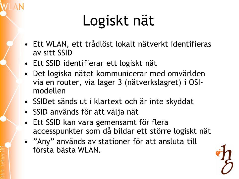 Logiskt nät •Ett WLAN, ett trådlöst lokalt nätverkt identifieras av sitt SSID •Ett SSID identifierar ett logiskt nät •Det logiska nätet kommunicerar m