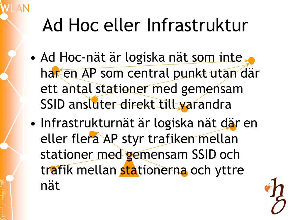 Ad Hoc eller Infrastruktur •Ad Hoc-nät är logiska nät som inte har en AP som central punkt utan där ett antal stationer med gemensam SSID ansluter dir
