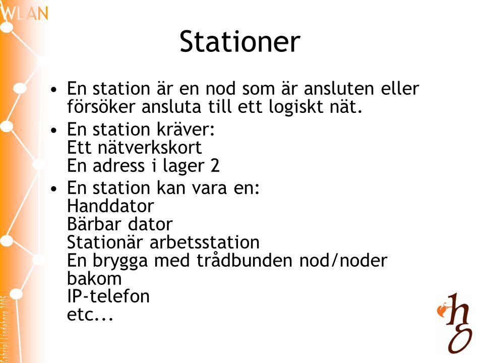 Stationer •En station är en nod som är ansluten eller försöker ansluta till ett logiskt nät. •En station kräver: Ett nätverkskort En adress i lager 2