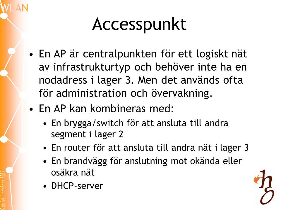 Accesspunkt •En AP är centralpunkten för ett logiskt nät av infrastrukturtyp och behöver inte ha en nodadress i lager 3. Men det används ofta för admi