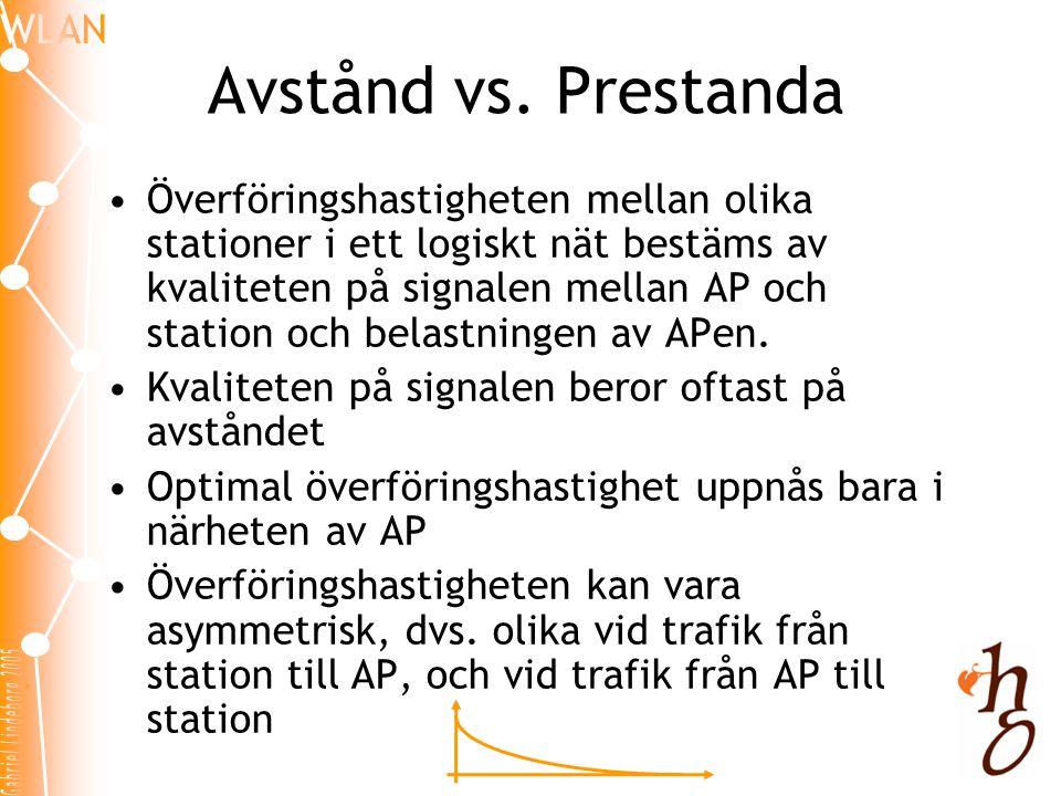 Avstånd vs. Prestanda •Överföringshastigheten mellan olika stationer i ett logiskt nät bestäms av kvaliteten på signalen mellan AP och station och bel