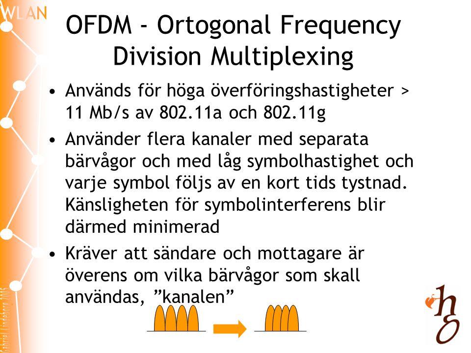 Kanaler •802.11, 802.11b och 802.11g använder beroende på land 11-13 kanaler i 2,4MHz-bandet •802.11a (med tillägget 802.11h) använder 8 kanaler i 5MHz-bandet •Kanalerna lappar över och angränsande WLAN kan därför inte använda kanalerna bredvid varandra
