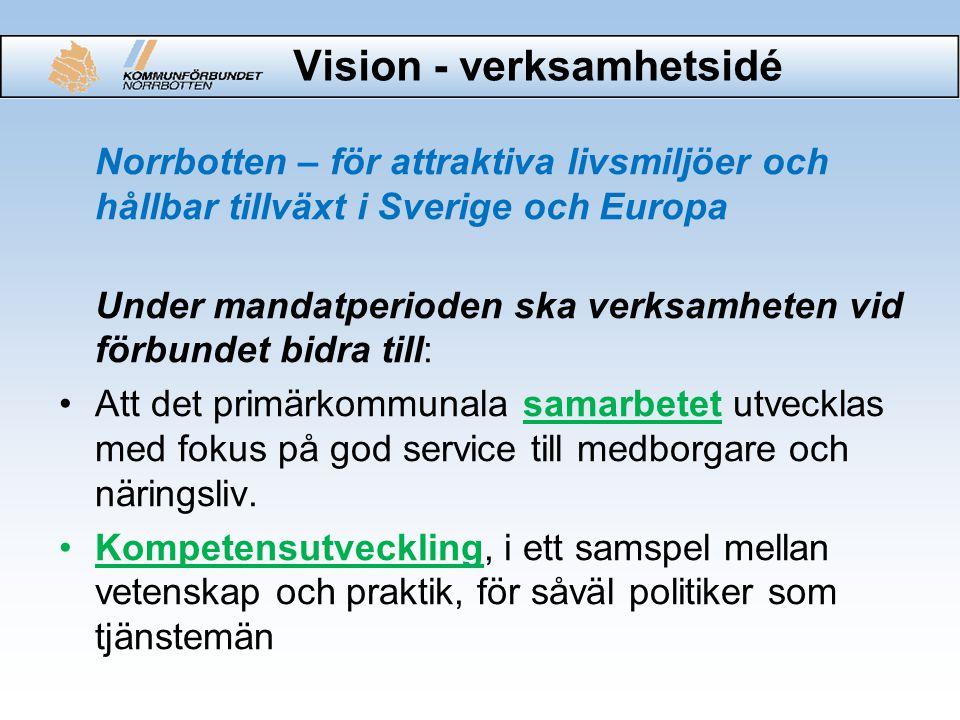 Norrbotten – för attraktiva livsmiljöer och hållbar tillväxt i Sverige och Europa Under mandatperioden ska verksamheten vid förbundet bidra till: •Att