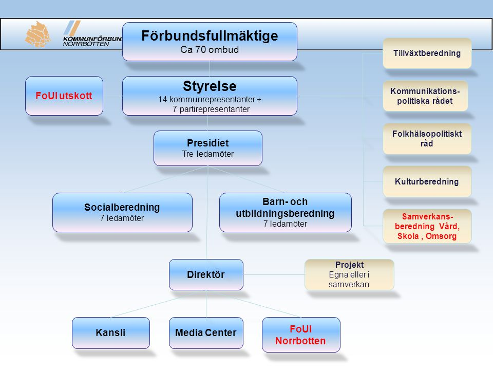 Utförarorganisation Kansli 4 strateger 4 handläggare 1 sekr/info FoUI Norrbotten 3,5 tjänster Direktör Projekt x tjänster Media Center 2 tjänster + 75 % lönebidrag