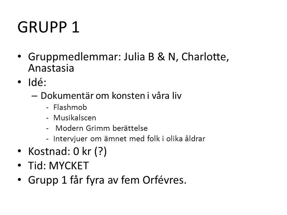 GRUPP 1 • Gruppmedlemmar: Julia B & N, Charlotte, Anastasia • Idé: – Dokumentär om konsten i våra liv -Flashmob -Musikalscen - Modern Grimm berättelse -Intervjuer om ämnet med folk i olika åldrar • Kostnad: 0 kr ( ) • Tid: MYCKET • Grupp 1 får fyra av fem Orfévres.