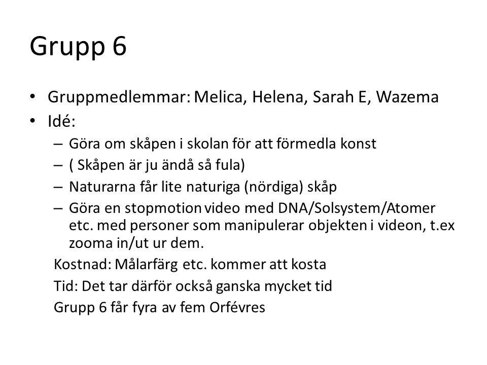 Grupp 6 • Gruppmedlemmar: Melica, Helena, Sarah E, Wazema • Idé: – Göra om skåpen i skolan för att förmedla konst – ( Skåpen är ju ändå så fula) – Naturarna får lite naturiga (nördiga) skåp – Göra en stopmotion video med DNA/Solsystem/Atomer etc.