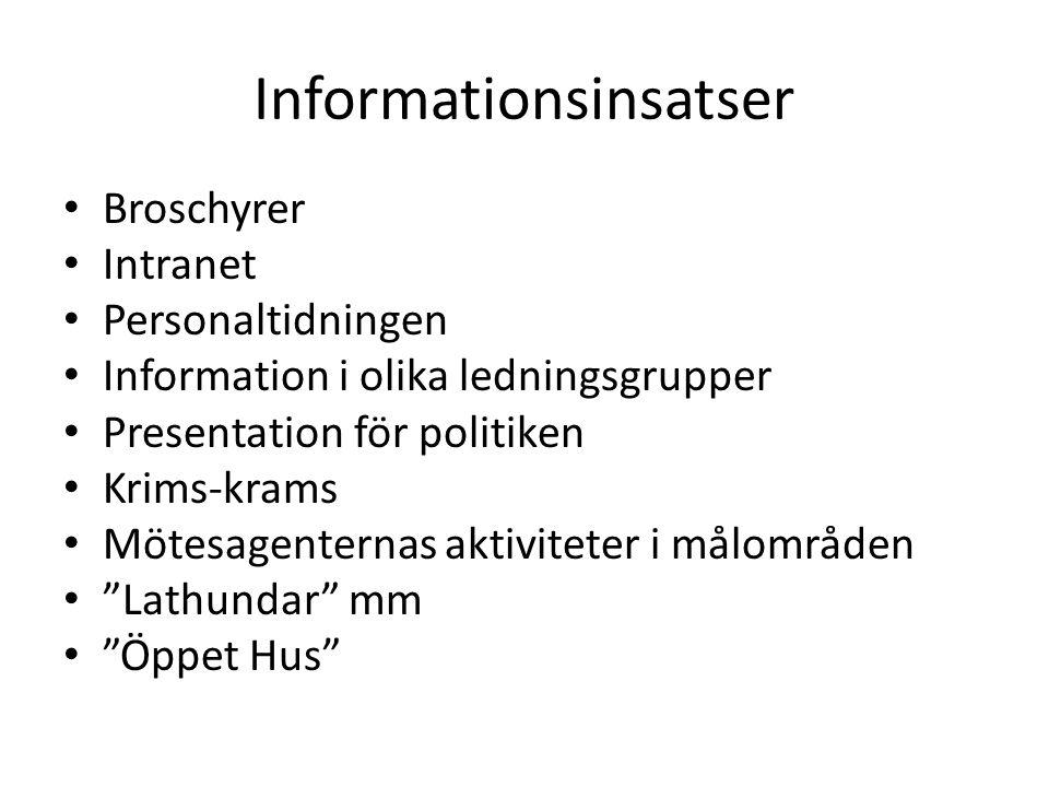 Informationsinsatser • Broschyrer • Intranet • Personaltidningen • Information i olika ledningsgrupper • Presentation för politiken • Krims-krams • Mö