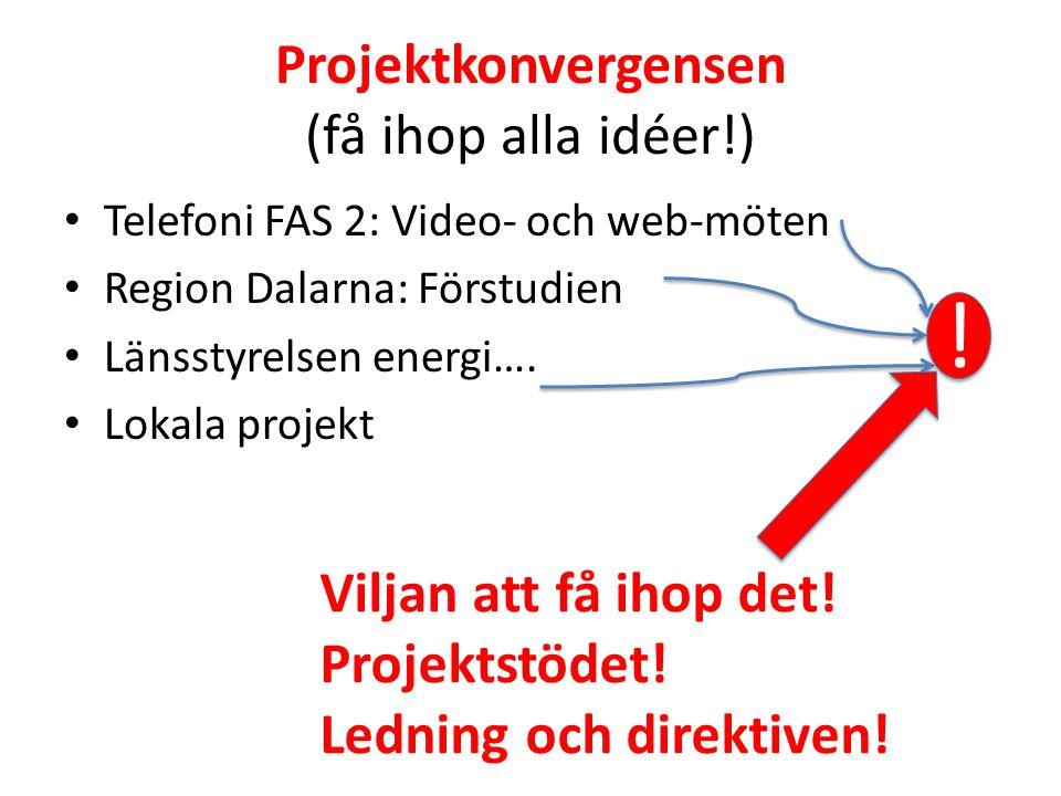 Projektkonvergensen (få ihop alla idéer!) • Telefoni FAS 2: Video- och web-möten • Region Dalarna: Förstudien • Länsstyrelsen energi…. • Lokala projek