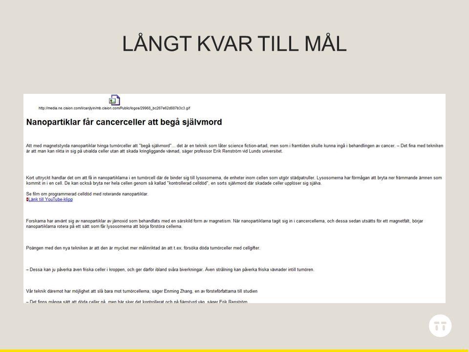 LÅNGT KVAR TILL MÅL