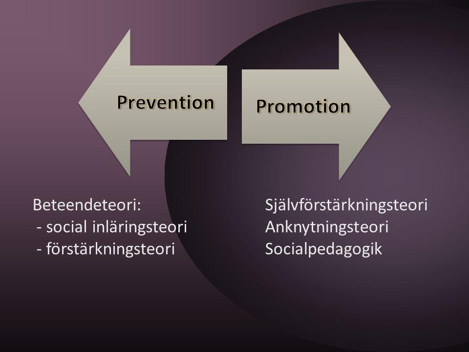Beteendeteori: - social inläringsteori - förstärkningsteori Självförstärkningsteori Anknytningsteori Socialpedagogik