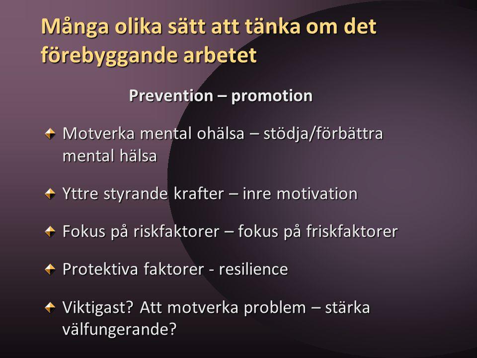 Många olika sätt att tänka om det förebyggande arbetet Prevention – promotion Prevention – promotion Motverka mental ohälsa – stödja/förbättra mental