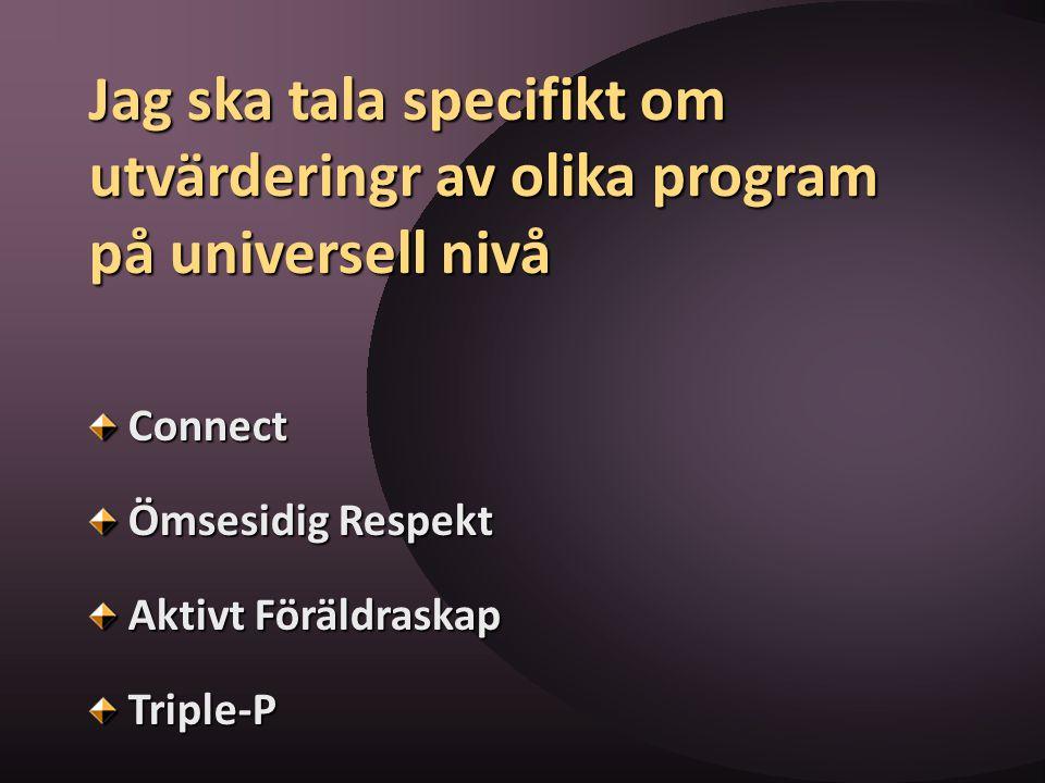 Jag ska tala specifikt om utvärderingr av olika program på universell nivå Connect Ömsesidig Respekt Aktivt Föräldraskap Triple-P