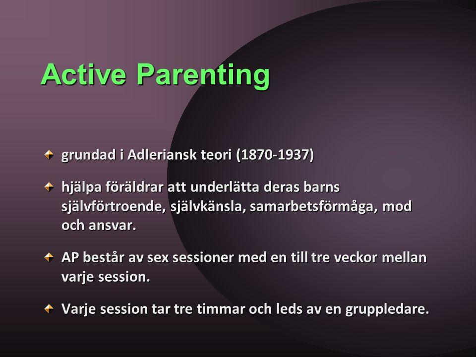 Active Parenting grundad i Adleriansk teori (1870-1937) hjälpa föräldrar att underlätta deras barns självförtroende, självkänsla, samarbetsförmåga, mo