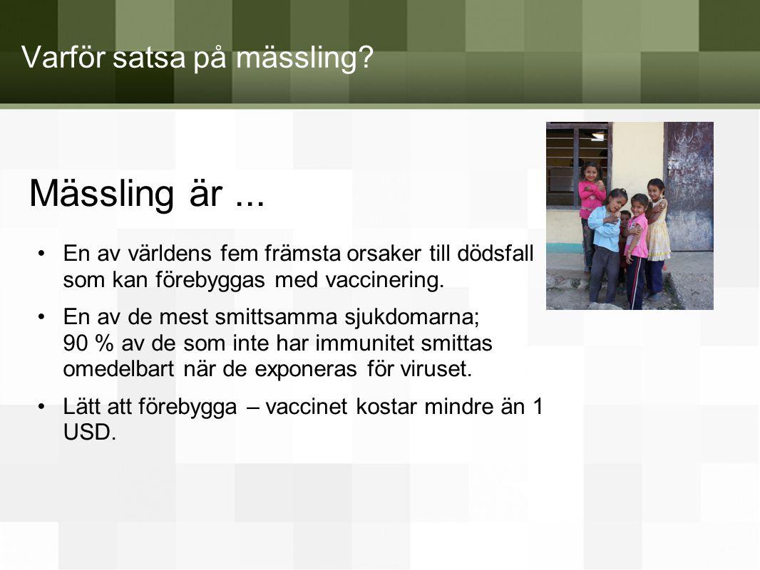 Varför satsa på mässling? Mässling är... •En av världens fem främsta orsaker till dödsfall som kan förebyggas med vaccinering. •En av de mest smittsam