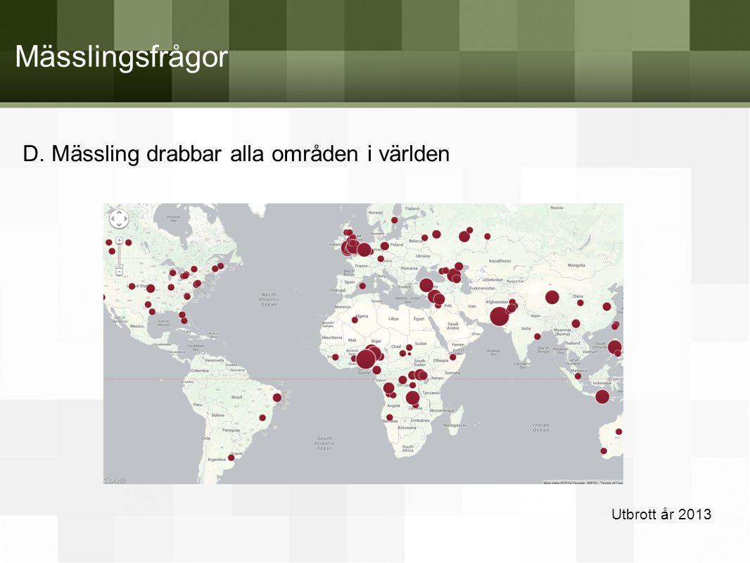 D. Mässling drabbar alla områden i världen Utbrott år 2013 Mässlingsfrågor