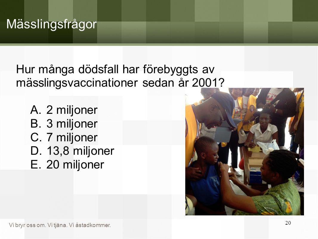 Vi bryr oss om. Vi tjäna. Vi åstadkommer. Hur många dödsfall har förebyggts av mässlingsvaccinationer sedan år 2001? A.2 miljoner B.3 miljoner C.7 mil