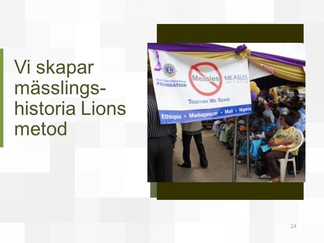 Vi skapar mässlings- historia Lions metod 24
