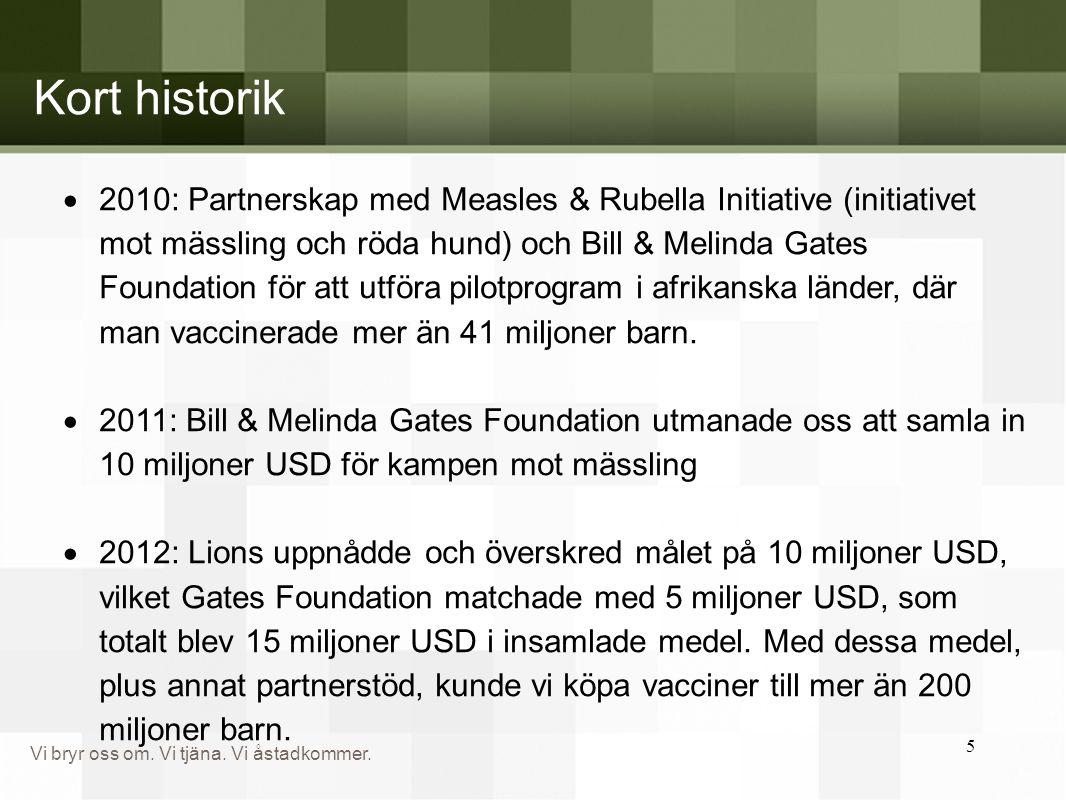 Vi bryr oss om. Vi tjäna. Vi åstadkommer. 5 Kort historik  2010: Partnerskap med Measles & Rubella Initiative (initiativet mot mässling och röda hund