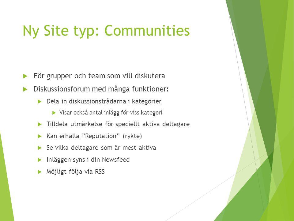 Ny Site typ: Communities  För grupper och team som vill diskutera  Diskussionsforum med många funktioner:  Dela in diskussionstrådarna i kategorier