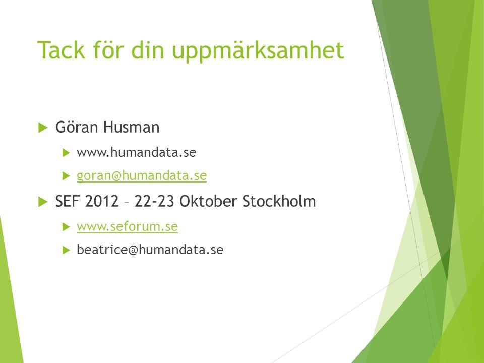 Tack för din uppmärksamhet  Göran Husman  www.humandata.se  goran@humandata.se goran@humandata.se  SEF 2012 – 22-23 Oktober Stockholm  www.seforu