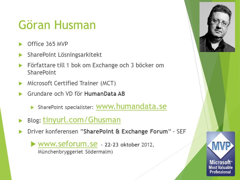 Göran Husman  Office 365 MVP  SharePoint Lösningsarkitekt  Författare till 1 bok om Exchange och 3 böcker om SharePoint  Microsoft Certified Train