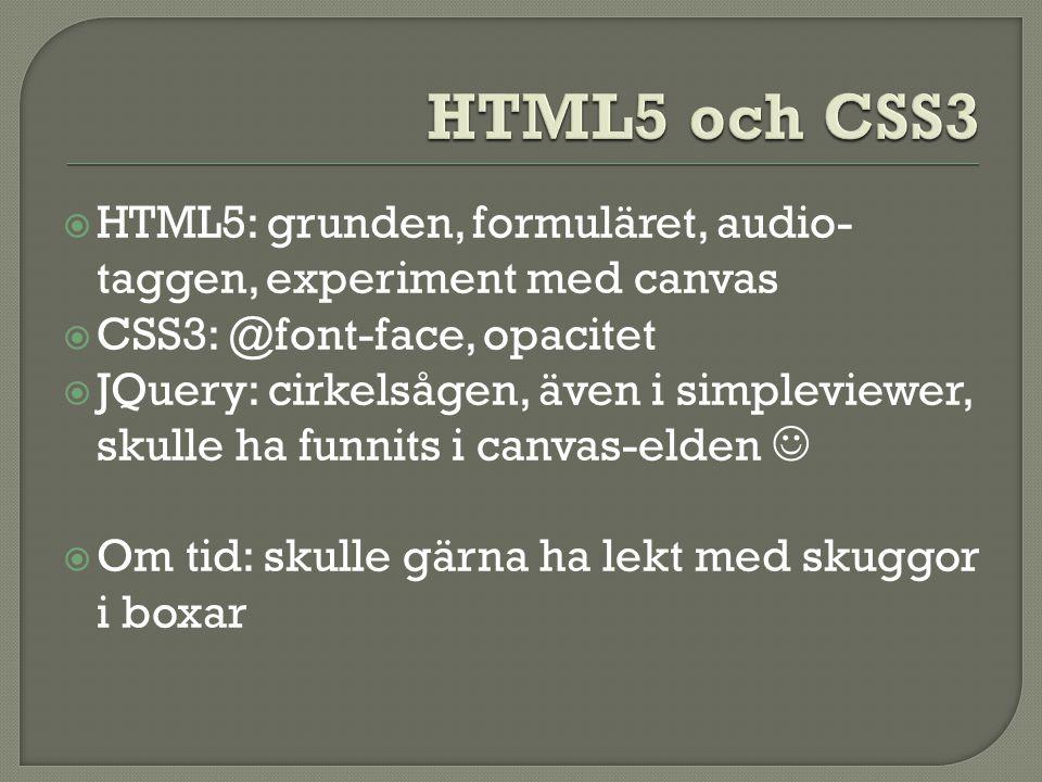  HTML5: grunden, formuläret, audio- taggen, experiment med canvas  CSS3: @font-face, opacitet  JQuery: cirkelsågen, även i simpleviewer, skulle ha funnits i canvas-elden   Om tid: skulle gärna ha lekt med skuggor i boxar