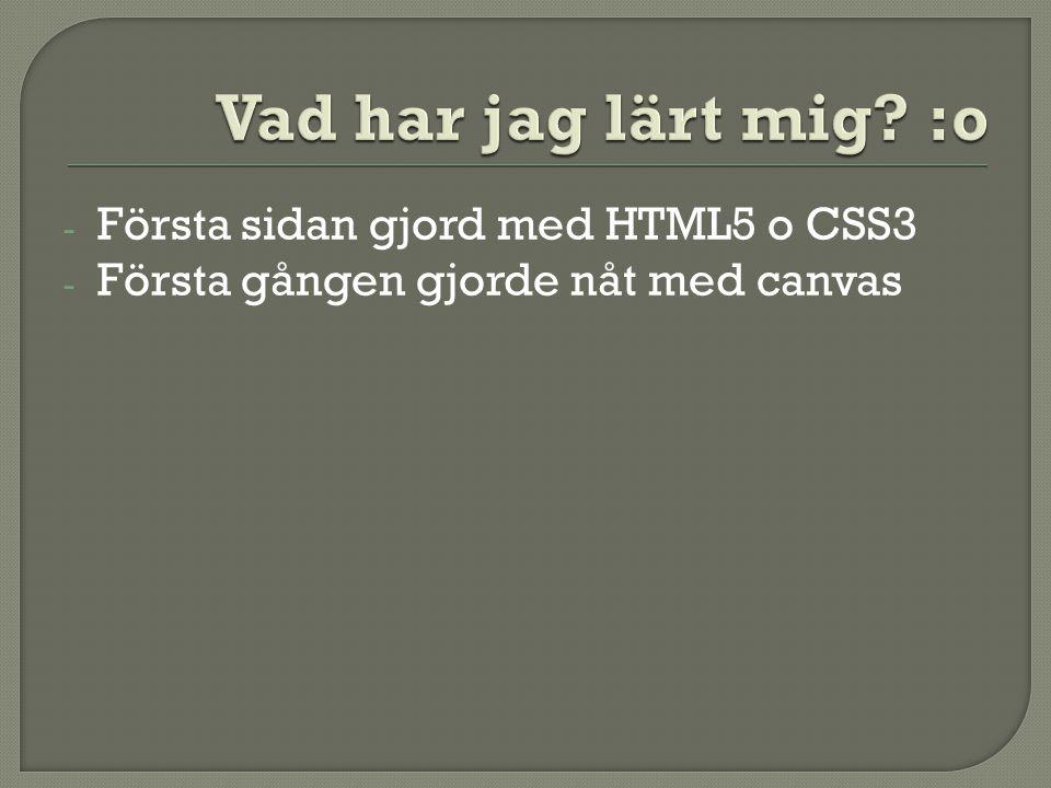- Första sidan gjord med HTML5 o CSS3 - Första gången gjorde nåt med canvas